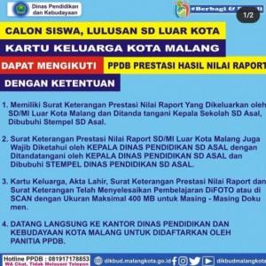 Lulusan SD Luar Kota Malang Bisa Ikuti PPDB Jalur Prestasi Nilai Raport, Simak Syaratnya