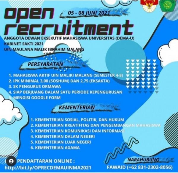 Poster open recruitment anggota Kabinet Sakti 2021 Dema UIN Maliki Malang (Ist)
