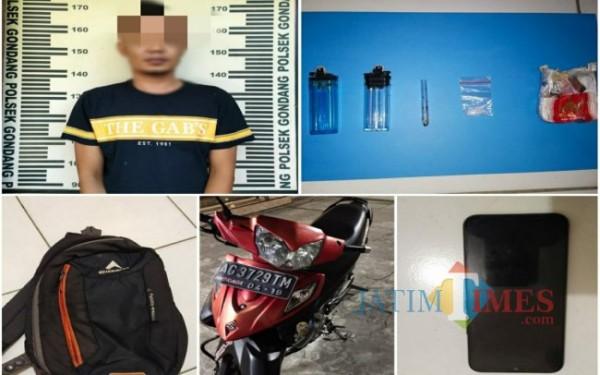 Tersangka beserta barang bukti yang diamankan Polsek Gondang (Foto: Dokpol/ TulungagungTIMES)