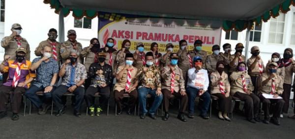 80 Anggota Pramuka Kota Malang melakukan apel tugas kegiatan kemanusiaan di halaman mini blok office, Sabtu (12/6/2021) (Ist)