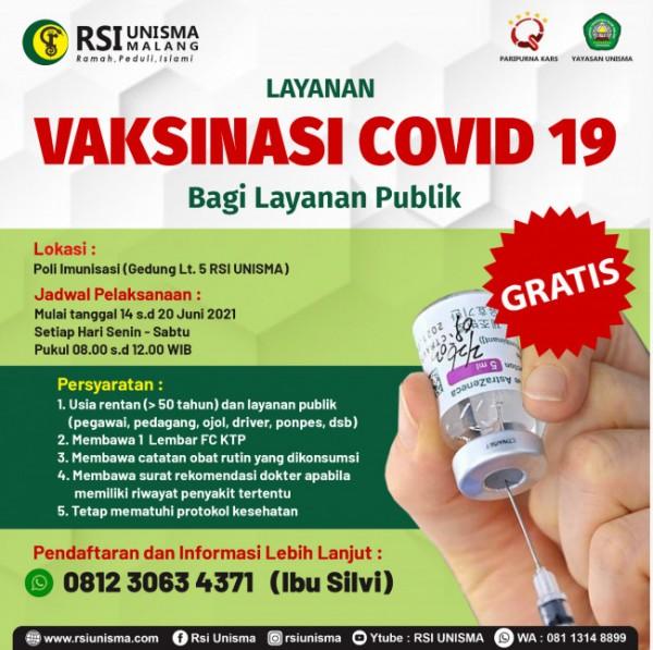 Poster informasi layanan vaksinasi gratis di RSI Unisma (Ist)