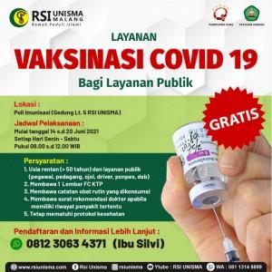 Gratis, RSI Unisma Layani Vaksinasi Covid-19 Masyarakat Umum