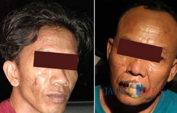 M. Erwin (kiri) dan Abdullah (kanan) kedua pelaku pemerasan (foto : istimewa / Jatim TIMES)