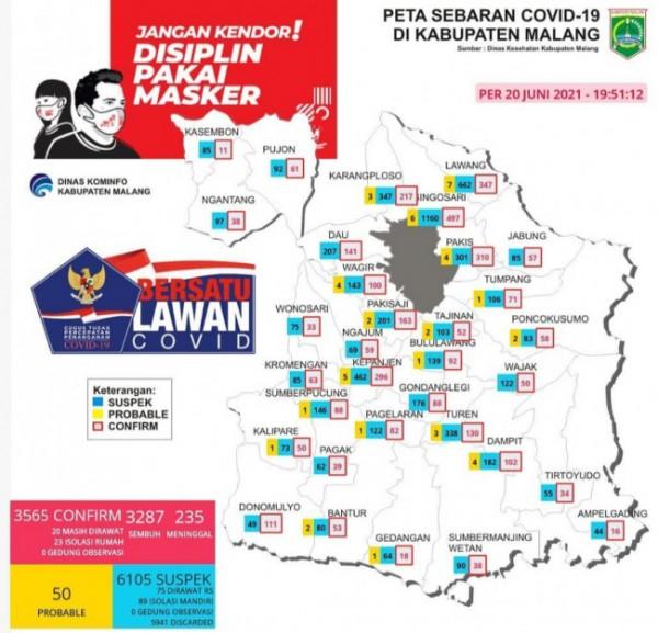 Peta sebaran covid-19 di Kabupaten Malang (foto: Instagram Kominfo Kabupaten Malang)