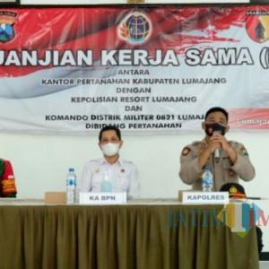 Polres Lumajang Tandatangani Perjanjian Kerja Sama dengan Kantor Pertanahan Kabupaten Lumajang