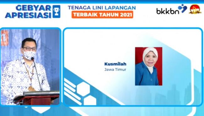 Kusmilah, Kader IMP dari Kelurahan Madyopuro pemenang pertama tingkat Provinsi dan Nasional Kategori Kader IMP (PPKBD/Sub PPKBD) 2021.