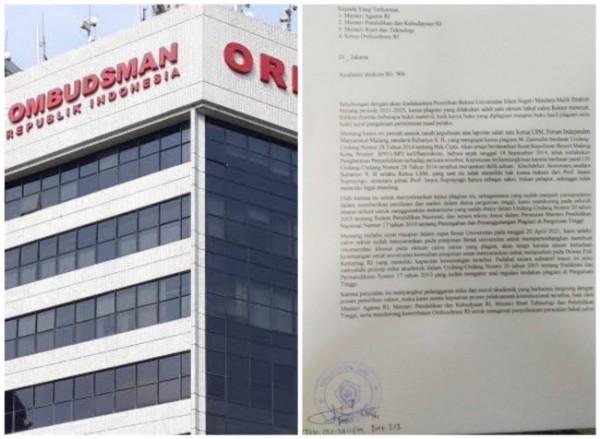 Ombudsman RI dan surat yang dikirimkan Prof Suhartono ke Ombudsman. (Ist)