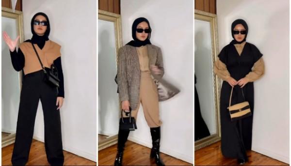 Inspirasi busana kecokelatan dan hitam ala Hijabers. (Foto: Instagram @anaoctarina).