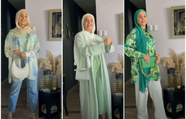 Inspirasi busana warna hijau ala hijabers. (Foto: Instagram @i.pomshawai).