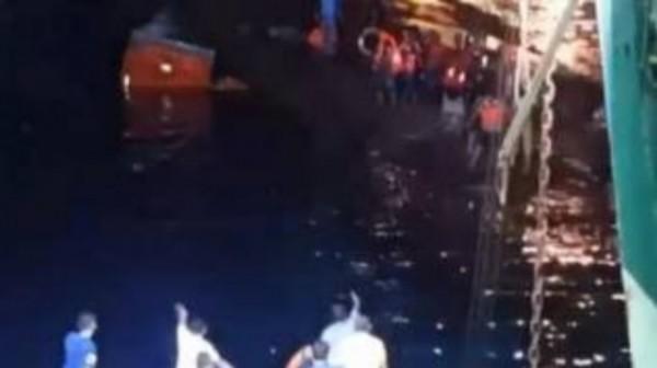 Kondisi kapal KMP Yunice yang tenggelam di Selat Bali, Selasa (29/6/2021). (Foto: Istimewa)