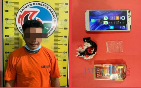 Tersangka ST dan barang bukti yang diamankan (Foto: Dokpol/ TulungagungTIMES)