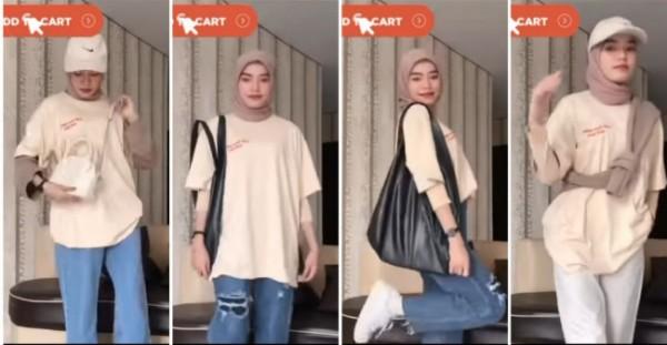 Inspirasi styling t-shirt oversized ala hijabers. (Foto: Instagram @hijabngehitz).