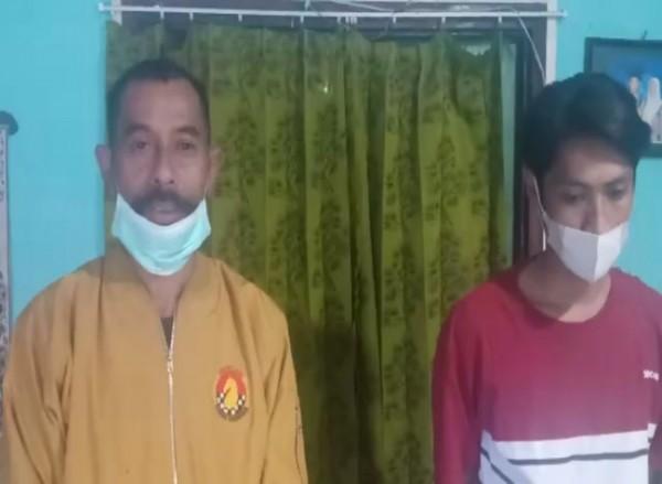 Adi Prasetyo Utomo (kanan), pemosting kabar hoax soal jadi korban kecelakaan akibat lampu jalan dimatikan, bersama orang tuanya melakukan klarifikasi. (Ist)