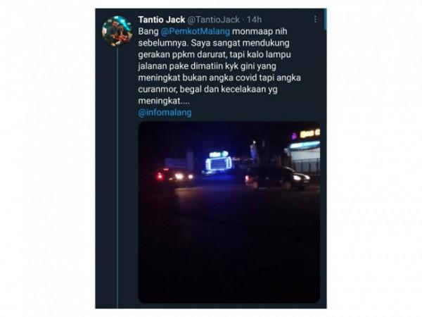 Salah satu cuitan netizen yang protes akan kebijakan mematikan lampu PJU selama PPKM Darurat di Kota Malang. (Foto: source twitter).