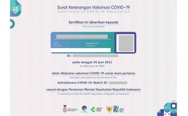 Sertifikat Vaksin (Foto: Kompas.com)