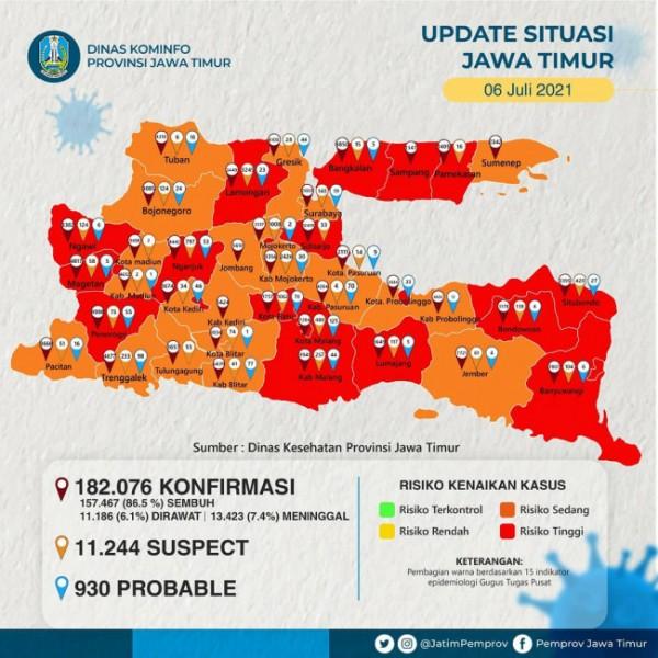 Peta wilayah Kota Malang masuk zona merah Covid-19 di Jawa Timur. (Foto: Istimewa).