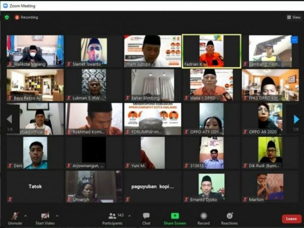 Hari Aspirasi yang digelar DPD PKS Kota Malang secara virtual. (Foto: Istimewa).