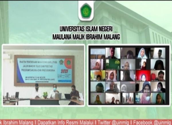 UIN Maliki Malang yang melakukan simulasi ujian tes masuk jalur mandiri tulis dan prestasi secara daring (Ist)