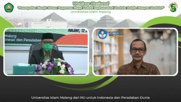 Webinar Pencapaian Kinerja Utama Perguruan Tinggi melalui Implementasi Merdeka Belajar Kampus Merdeka (MBKM) yang digelar Unisma, menghadirkan Dirjen Dikti Kemendikbud Ristek (Ist)