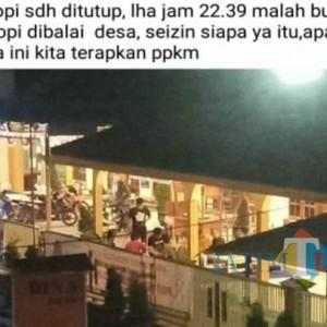 Kades Kepuh Bantah Warkop di Kantor Desa Langgar PPKM Darurat, Satgas Covid-19 Tulungagung Akan Klarifikasi