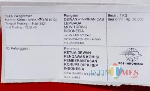 Bukti pengiriman surat DPC LMI Tulungagung kepada KPK. (Foto: Muhsin/TulungagungTIMES)
