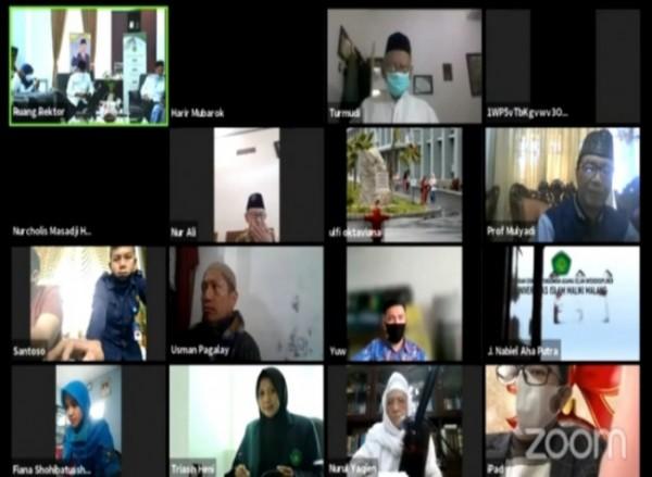 Universitas Islam Negeri Maulana Malik Ibrahim (UIN Maliki) Malang, menggelar agenda rutin Khotmil, Istigasah, dan Sholawat Nabi secara daring, Jumat (16/7/2021) (Ist)