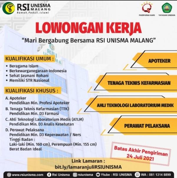 Flyer lowongan kerja RSI Unisma Malang (Ist)