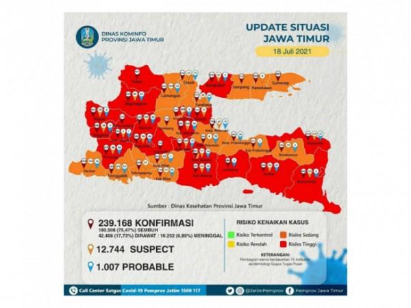Data covid-19 Jawa Timur pada Minggu 18 Juli 2021. (Foto: Instagram @jatimpemprov)