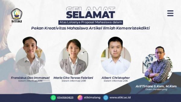 Tiga mahasiswa STIKI Malang yang lolos PKM-AI dan Dosen Pendamping (Ist)