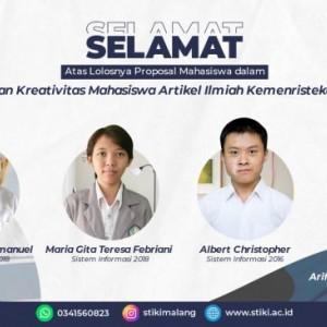 Ukir Prestasi, 3 Mahasiswa STIKI Malang Lolos PKM AI