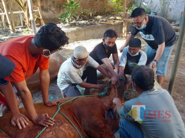 Beberapa panitia dari Langgar Waqaf Al-Moedjadi yang sedang melakukan penyembelihan hewan kurban, Selasa (20/7/2021). (Foto: Tubagus Achmad/MalangTIMES)