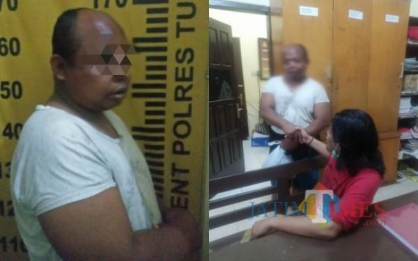 Pelaku Mat Dobek saat diamankan di Mapolek Tulungagung kota / Foto : Dokpol / Tulungagung TIMES