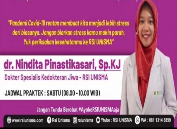 Dokter Spesialis kedokteran jiwa RSI Unisma dr Nindita Pinastikasari Sp Kj(Ist)