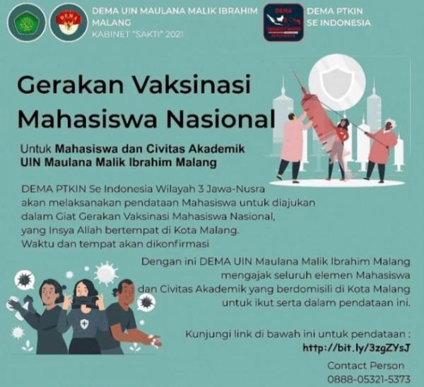 Flyer Dema PTKIN yang mengadakan Gerakan Vaksinasi Mahasiswa Nasional (Ist)