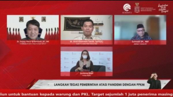 Dialog Produktif Rabu Utama : Langkah serius pemerintah tangani pandemi dengan PPKM yang digelar oleh Komite Penanganan Covid 19 dan Pemulihan Ekonomi Nasional (KCP PEN) secara daring, Rabu (28/7/2021) (Ist)