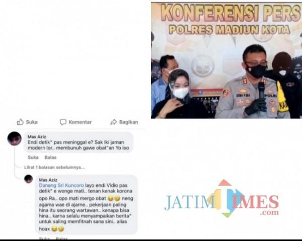 Komentar penghinaan kepada wartawan yang di tulis WAA di Media Sosial Facebook.