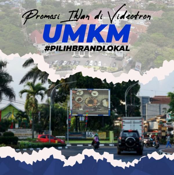 Potret produk UMKM Kota Malang yang dipromosikan di videotron dekat SMPN 5 Malang. (Foto: Istimewa).
