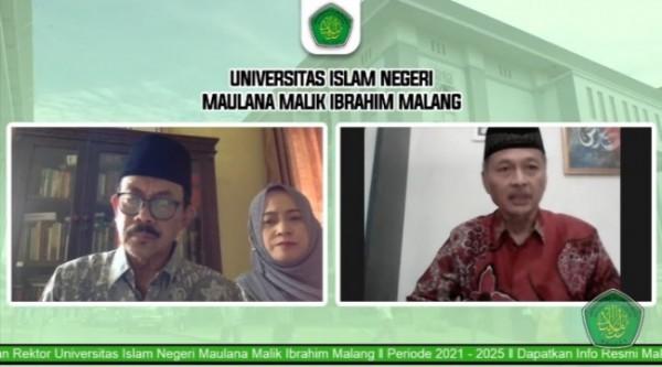 Serah terima jabatan Rektor UIN Maliki Malang periode 2017-2021 kepada Rektor baru periode 2021-2025 yang digelar secara daring (Ist)