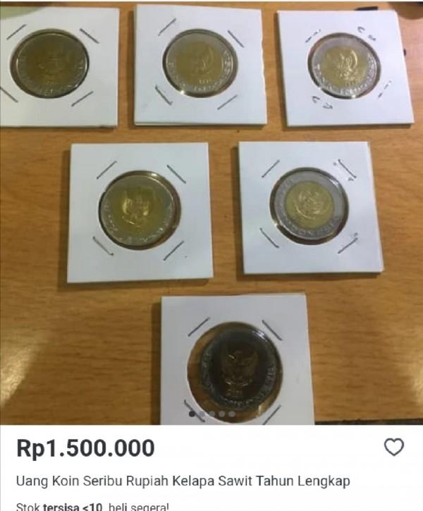 Banderol harga uang koin Rp 1.000 bergambar kelapa sawit (tokopedia.coml