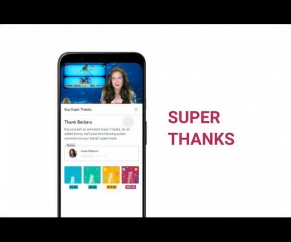 YouTube Super Thanks. (Foto: source google).