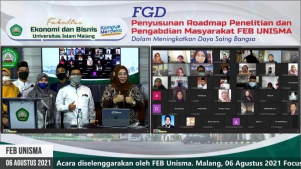Suasana Focus Group Discussion (FGD) Penyusunan Roadmap Penelitian dan Pengabdian Masyarakat dalam rangka meningkatkan daya saing bangsa yang digelar FEB Unisma (Ist)