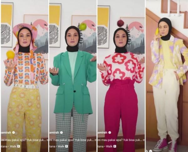 Inspirasi outfit sesuai warna buah. (Foto: Instagram @tantrinamirah).