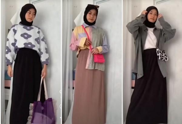 Inspirasi outfit simple dengan pleats skirt. (Foto: Instagram @indonesianlookbook).