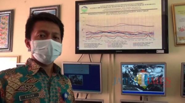 Prakirawan BMKG Maritim Tanjung Perak Surabaya Fajar Setiawan (foto: Hendra Saputra/MalangTIMES)