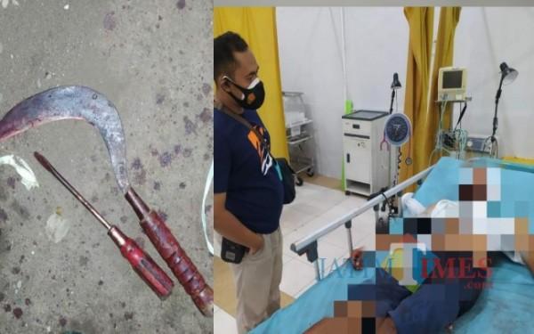 Kondisi OS di rumah sakit dan barang bukti sabit dan obeng / Foto : Dokpol / Tulungagung TIMES
