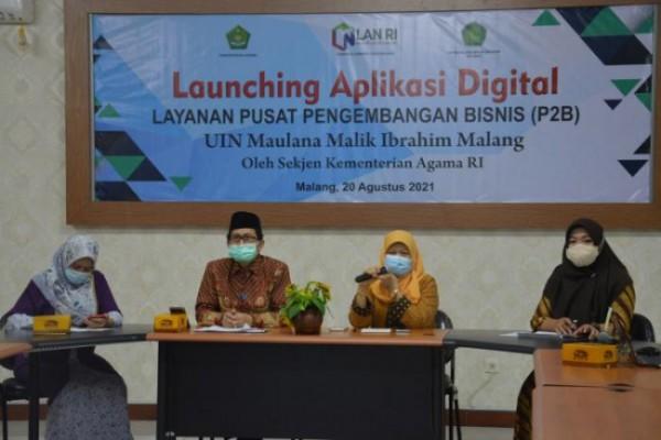 Suasana saat pelaunchingan aplikasi digital di P2B UIN Maliki Malang (Ist)