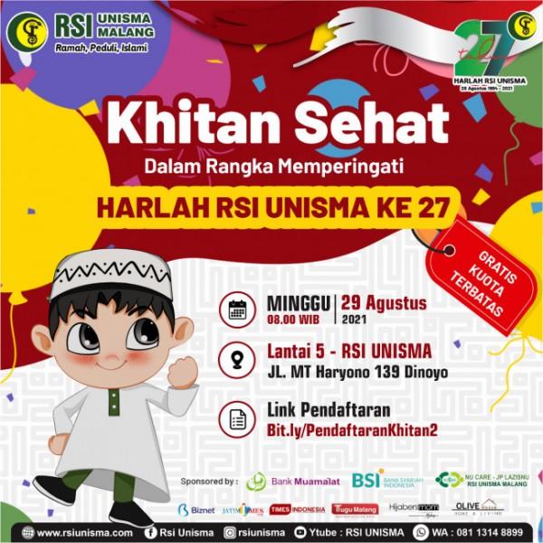 Flyer Khitan Sehat yang digelar oleh RSI Unisma Malang secara gratis (RSI Unisma)