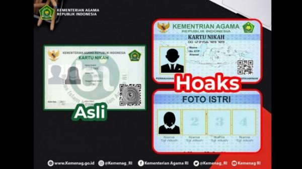 Kartu nikah digital asli (kiri) dan kartu nikah digital palsu (kanan)(Ist)