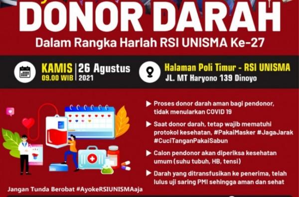 Flyer kegiatan donor darah RSI Unisma (Ist)