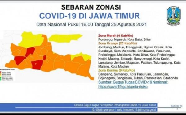 Peta sebaran Covid-19 di wilayah Jawa Timur. (Foto: Instagram @khofifah.ip).